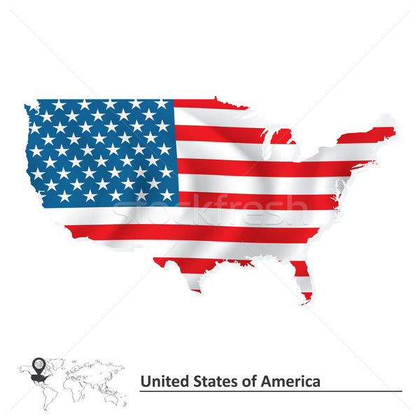 Map of United States of America with flag Stock photo © ojal