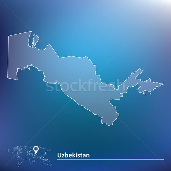 Térkép Üzbegisztán felirat szél rajz Ázsia Stock fotó © ojal