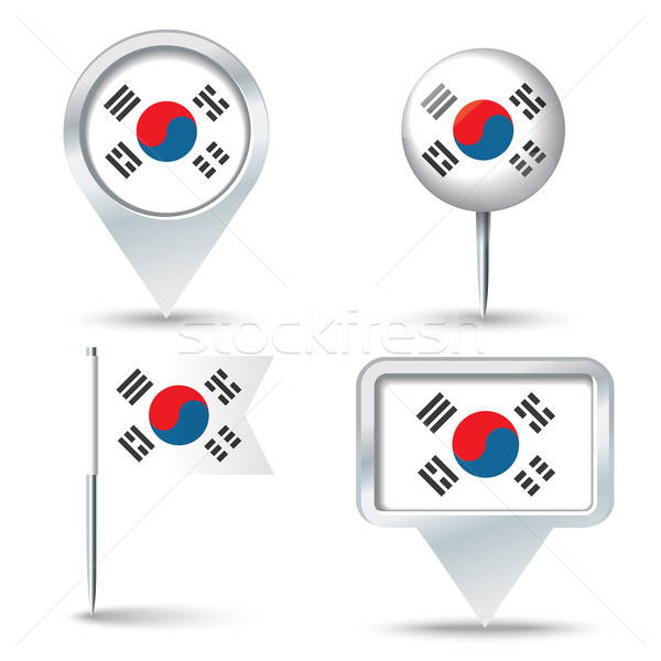 карта флаг Южная Корея бизнеса дороги белый Сток-фото © ojal