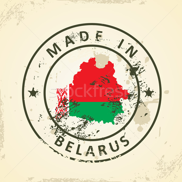 Stamp with map flag of Belarus Stock photo © ojal