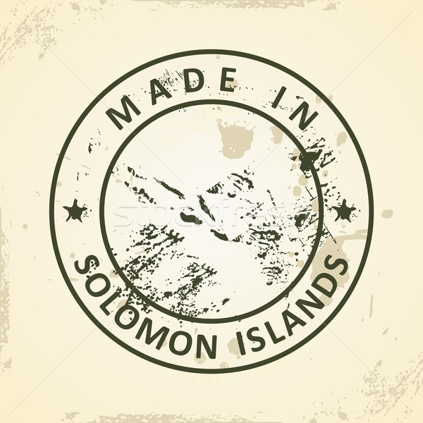 Stamp with map of Solomon Islands Stock photo © ojal