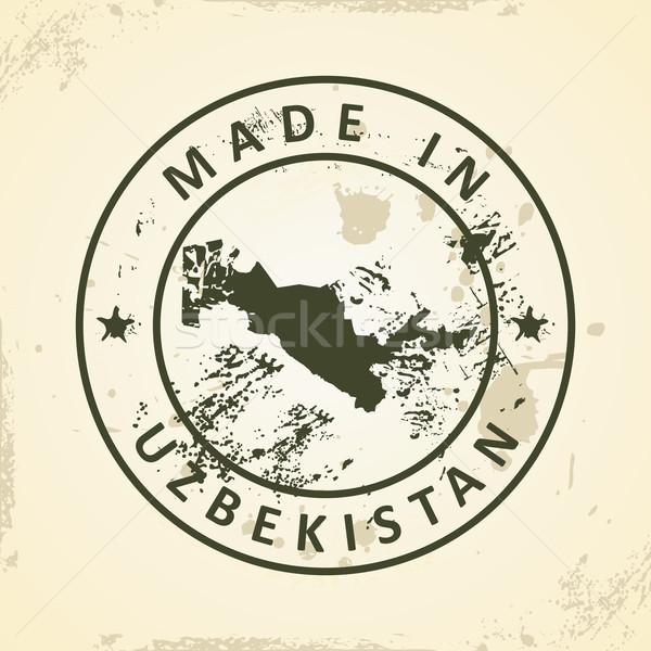 Bélyeg térkép Üzbegisztán grunge világ zöld Stock fotó © ojal