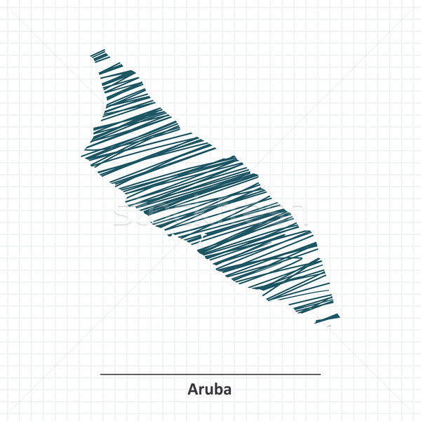 Rabisco esboço mapa projeto azul bandeira Foto stock © ojal
