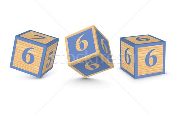 Stok fotoğraf: Vektör · numara · ahşap · alfabe · bloklar · iş