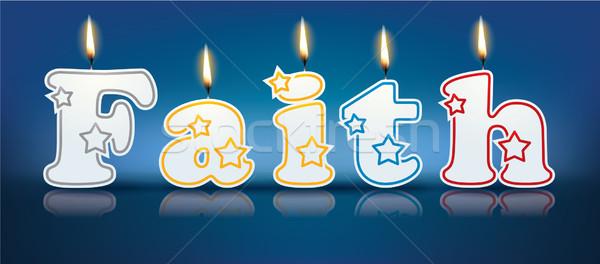 Wiary napisany palenie świece świetle urodziny Zdjęcia stock © ojal