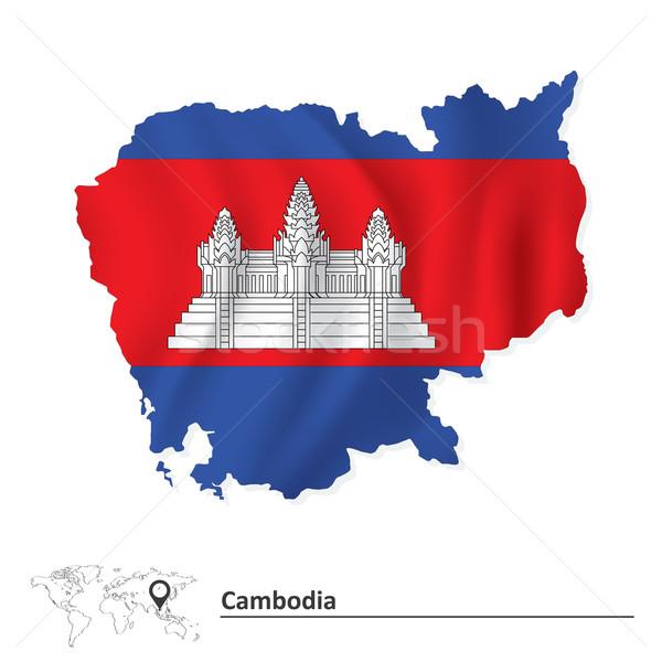 Mapa Camboja bandeira cidade abstrato projeto Foto stock © ojal