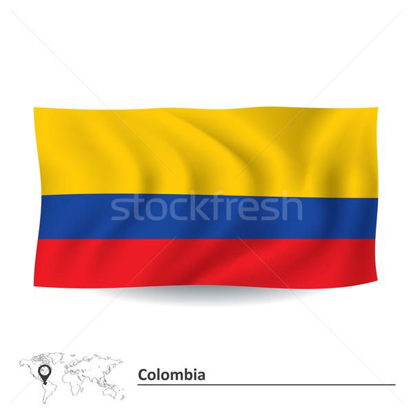 Bandeira Colômbia fundo azul vermelho silhueta Foto stock © ojal