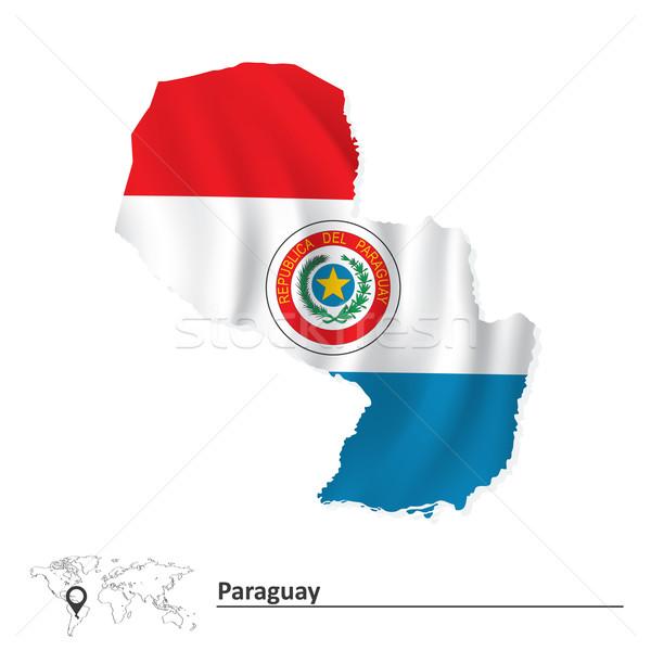 Mappa Paraguay bandiera blu viaggio vento Foto d'archivio © ojal