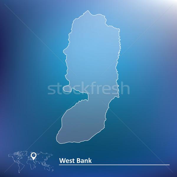 Térkép nyugat bank földgömb világ keret Stock fotó © ojal