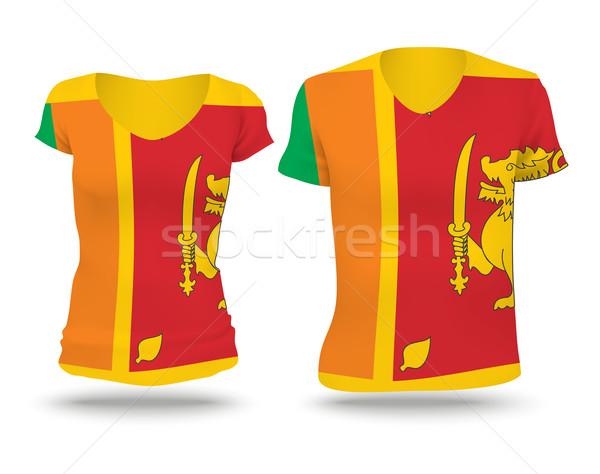 Banderą shirt projektu Sri Lanka kobieta człowiek Zdjęcia stock © ojal