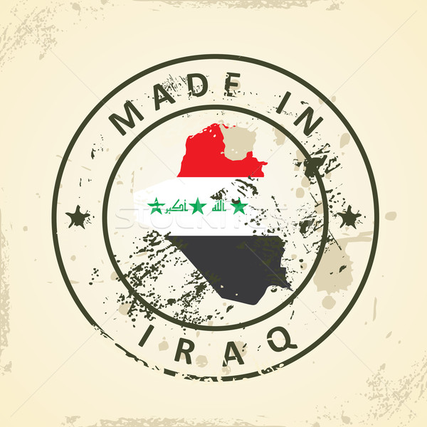 Carimbo mapa bandeira Iraque grunge mundo Foto stock © ojal