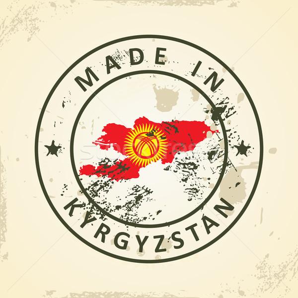 Damga harita bayrak Kırgızistan grunge dünya Stok fotoğraf © ojal