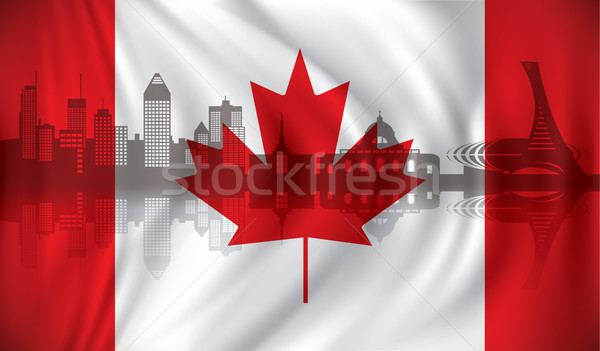 Flag of Canada with Montreal skyline Stock photo © ojal
