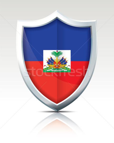 Scudo bandiera Haiti design sfondo arte Foto d'archivio © ojal