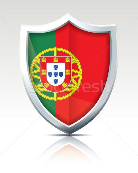 Scudo bandiera Portogallo mappa viaggio rosso Foto d'archivio © ojal