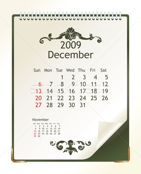 Aralık 2009 takvim ofis bahar dizayn Stok fotoğraf © ojal