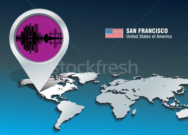 Foto stock: Mapa · pin · San · Francisco · linha · do · horizonte · edifício · cidade