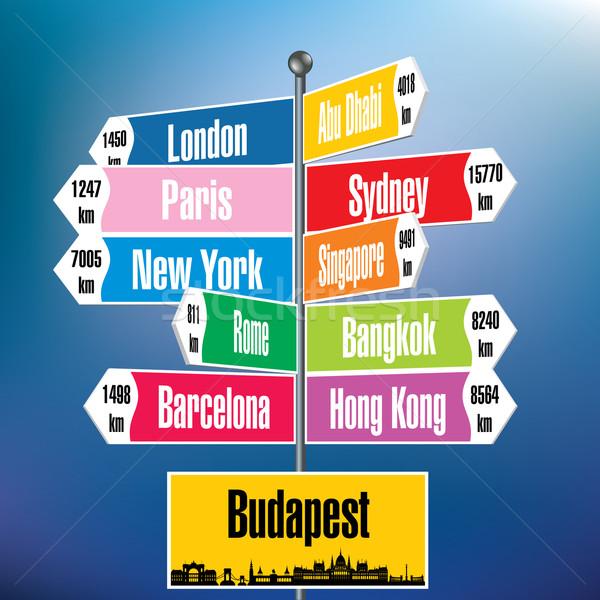 Budapeşte tabelasını şehirler yol sokak arka plan Stok fotoğraf © ojal