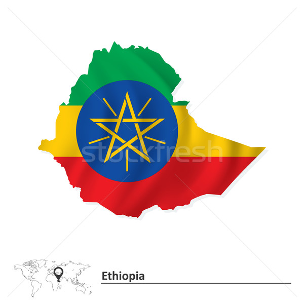 Map of Ethiopia with flag Stock photo © ojal