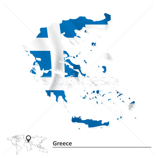 Map of Greece with flag Stock photo © ojal