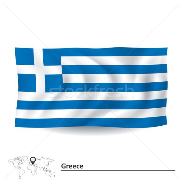 Bayrak Yunanistan Dünya Seyahat Boyama Grafik Vektör
