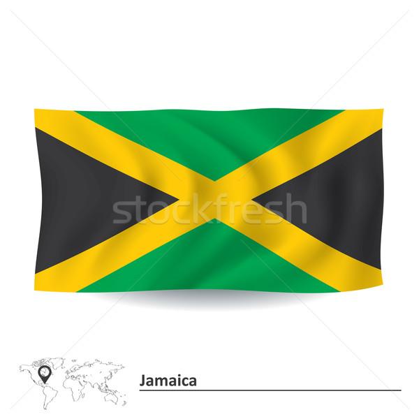 Zászló Jamaica textúra művészet felirat zöld Stock fotó © ojal