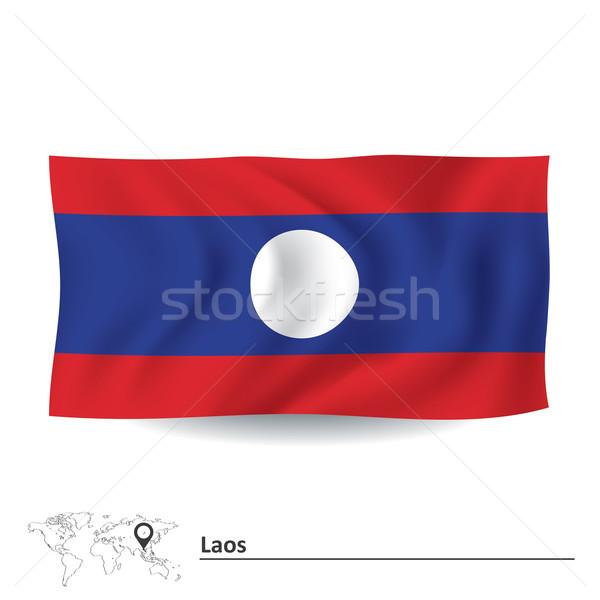 Banderą Laos świat podpisania niebieski asian Zdjęcia stock © ojal