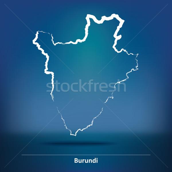 Rabisco mapa Burundi textura mundo fundo Foto stock © ojal