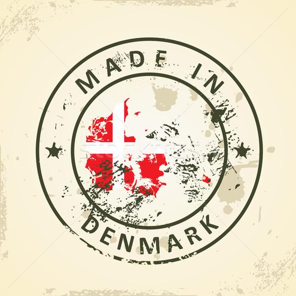 Carimbo mapa bandeira Dinamarca grunge abstrato Foto stock © ojal