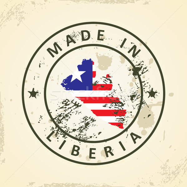 Stamp with map flag of Liberia Stock photo © ojal