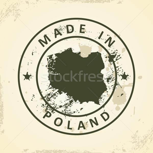 Pieczęć Pokaż Polska grunge streszczenie świat Zdjęcia stock © ojal