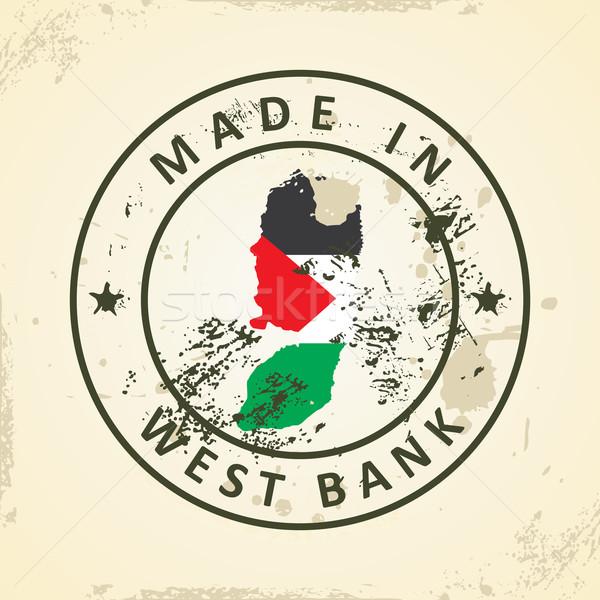 Stempel kaart vlag west bank grunge Stockfoto © ojal