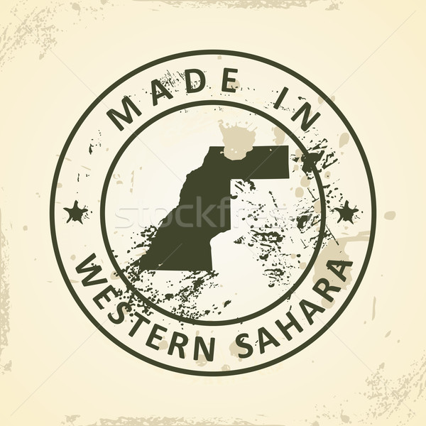 Stempel kaart westerse sahara grunge star Stockfoto © ojal