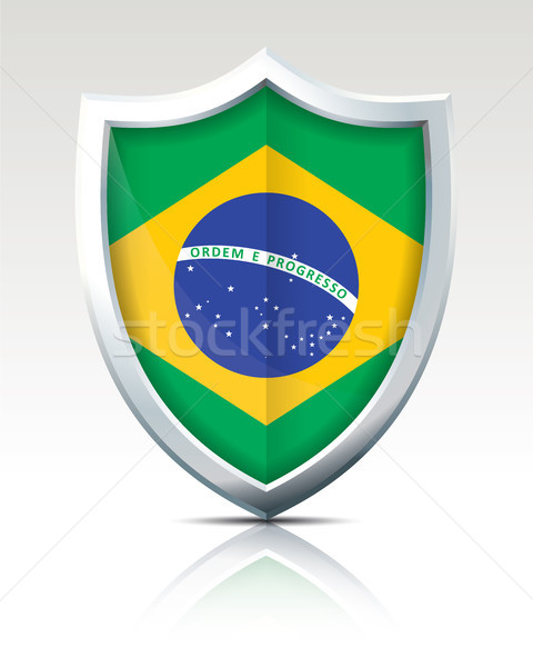 Shield with Flag of Brazil Stock photo © ojal