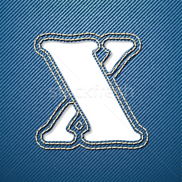 джинсовой джинсов письме ткань ткань красивой Сток-фото © ojal