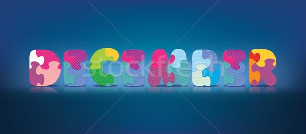 вектора декабрь написанный алфавит головоломки любви Сток-фото © ojal