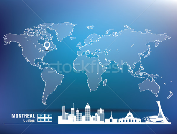 Map pin with Montreal skyline Stock photo © ojal