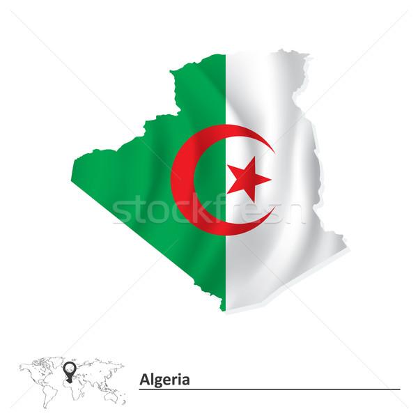 Carte Algérie pavillon résumé monde cadre Photo stock © ojal