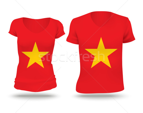 Pavillon shirt design Viêt-Nam femme homme Photo stock © ojal