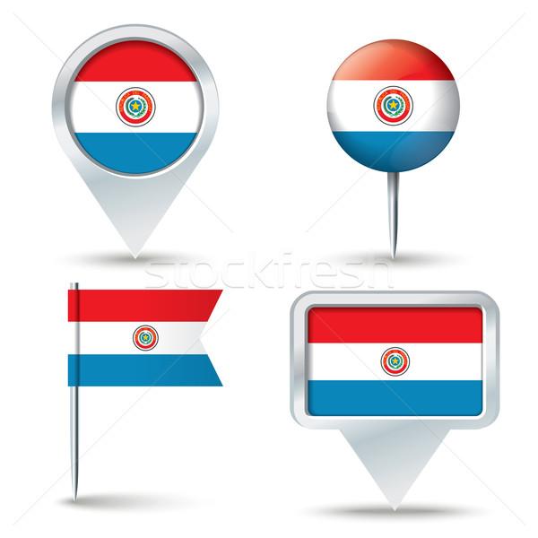 Térkép zászló Paraguay üzlet út fehér Stock fotó © ojal
