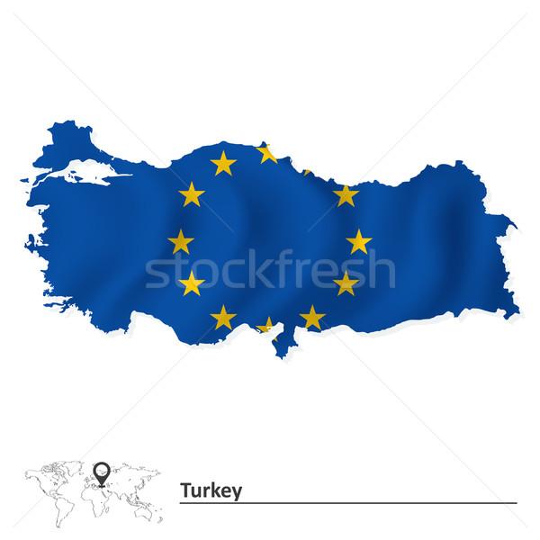 Stock fotó: Térkép · Törökország · európai · szövetség · zászló · világ