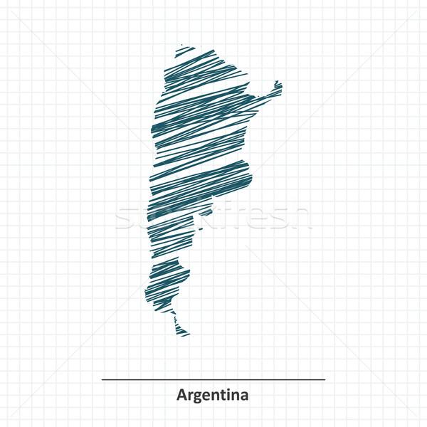 Doodle schets Argentinië kaart textuur abstract Stockfoto © ojal