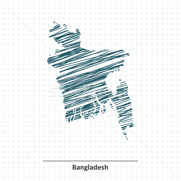 Doodle schets Bangladesh kaart business abstract Stockfoto © ojal