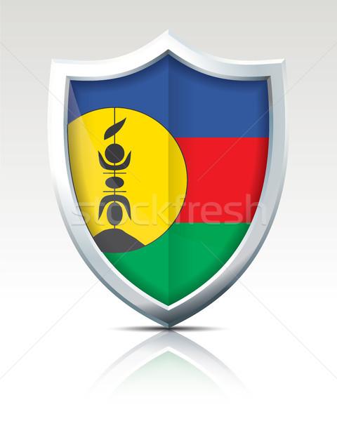 Foto stock: Escudo · bandeira · novo · assinar · silhueta · cor
