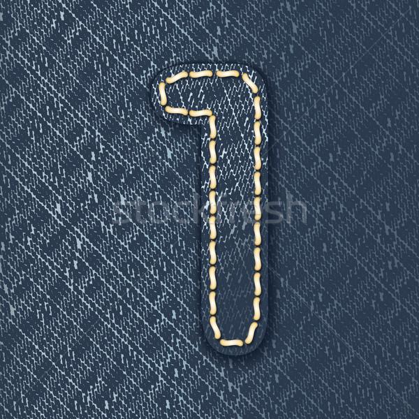 Szám farmer szövet levél ruha gyönyörű Stock fotó © ojal