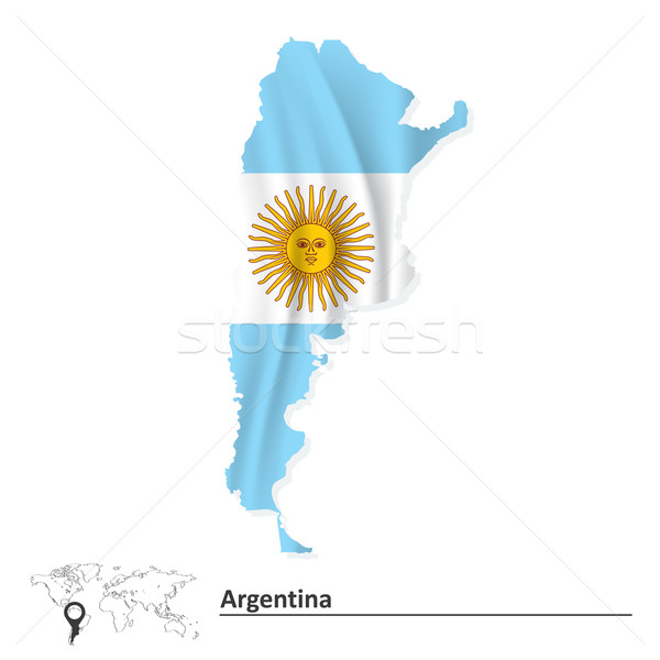 Map of Argentina with flag Stock photo © ojal