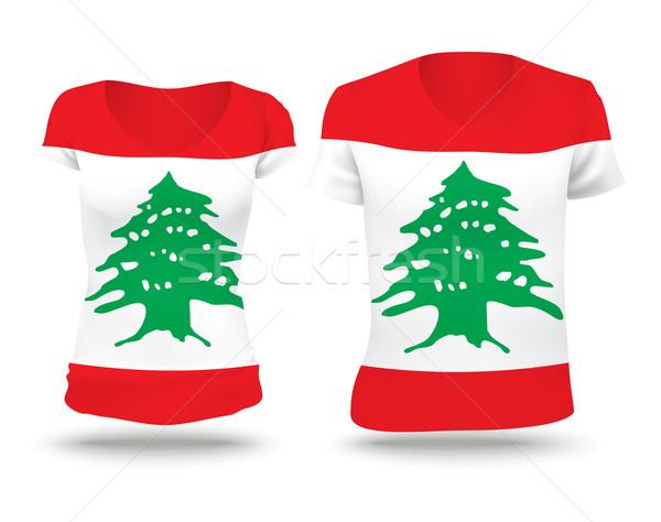 フラグ シャツ デザイン レバノン 女性 男 ストックフォト © ojal