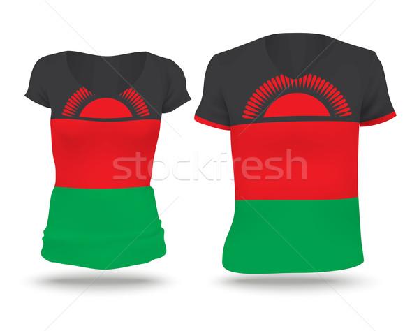 Vlag shirt ontwerp Malawi vrouw man Stockfoto © ojal