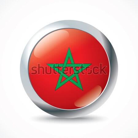 Marrocos bandeira botão viajar estrela vermelho Foto stock © ojal