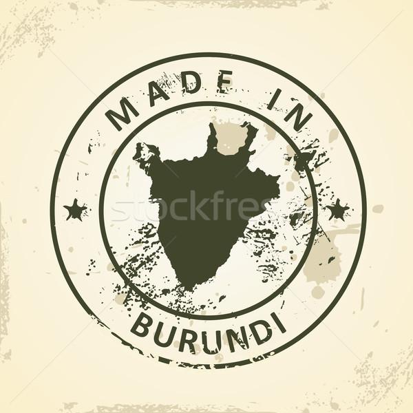 Foto stock: Carimbo · mapa · Burundi · grunge · projeto · mundo
